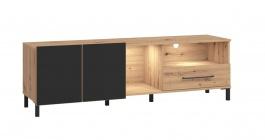TV stolek Nibiru 160cm s osvětlením - dub artisan/černá