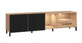 TV stolek Nibiru 180cm s osvětlením - dub artisan/černá