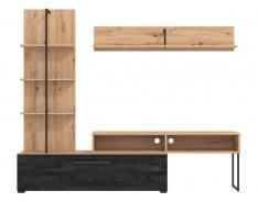Obývací stěna Atrej - dub artisan/černá