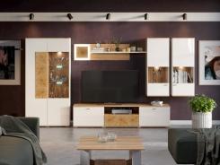 Obývací sestava Markus I - bílý lesk/dub zlatý