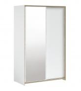 Šatní skříň s posuvnými dveřmi a zrcadlem Dylan - bílá/dub světlý