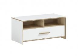Široký taburet s úložným prostorem Dylan - bílá/dub světlý