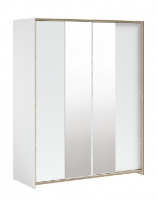 Velká šatní skříň s posuvnými dveřmi a zrcadlem Dylan - bílá/dub světlý