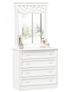 Komoda s dekorovaným zrcadlem Ofélie - bílá