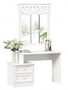 Toaletní stolek s dekorovaným zrcadlem Ofélie - bílá