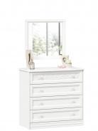 Zásuvková komoda se zrcadlem Ofélie - bílá