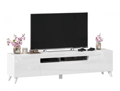 TV stolek s nohami 180cm Drax - bílý lesk