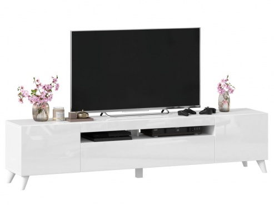 TV stolek s nohama 200cm Drax - bílý lesk