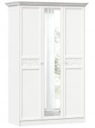 Šatní skříň se zrcadlem Ofélie - bílá