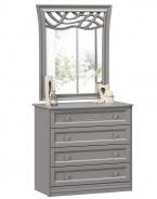 Komoda s dekorovaným zrcadlem Ofélie - šedá