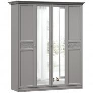Široká šatní skříň se zrcadlem Ofélie - šedá