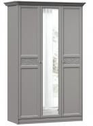 Šatní skříň se zrcadlem Ofélie - šedá