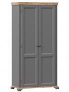 Dvoudveřová šatní skříň na nožkách Annie - šedá/dub tortuga
