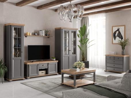 Obývací sestava II Annie - šedá/dub tortuga