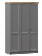 Třídveřová skříň plná Annie - šedá/dub tortuga