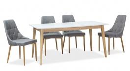Jídelní stůl rozkládací CESAR bílá/dub