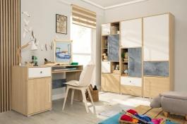 Studentský pokoj III Barney - dub/šedá/bílá