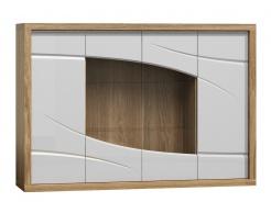 Komoda s vitrínou PARIS P11 bílý lesk/dub Sanremo