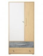 Studentská šatní skříň Barney - dub/šedá/bílá