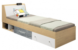 Dětská postel 90x200cm Barney - dub/šedá/bílá