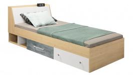 Studentská postel 120x200cm Barney - dub/šedá/bílá