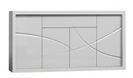 Komoda 4d1s PARIS P8 bílý lesk/bílá