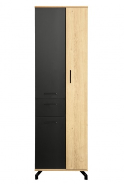 Úzká skříň Otis - dub/černá