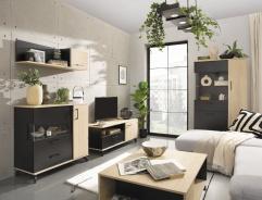 Obývací komplet Otis - dub/černá