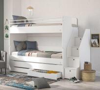 Patrová postel s úložným prostorem a schůdky Pure - bílá