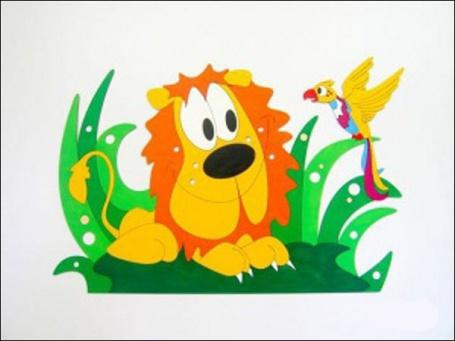 Dekorace na zeď Lev a papoušek