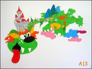 Dekorace na zeď drak s hradem