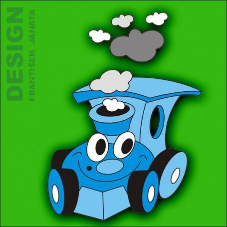 Dekorace na zeď mašinka modrá