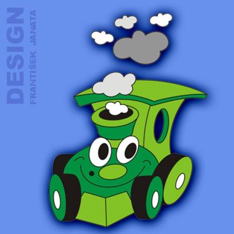 Dekorace na zeď mašinka zelená