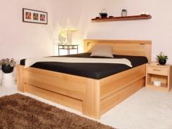 Masivní postel s úložným prostorem DeLuxe 2 - 160/180  200cm - výběr odstínů