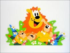 Dekorace na zeď Lev s mláďaty 150x98cm