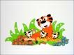 Dřevěná dekorace na zeď tygr s mláďaty 150x74cm