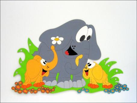 Dekorace na zeď slon s mláďaty