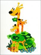 Dřevěná dekorace na zeď žirafa s mláďaty 150x93cm