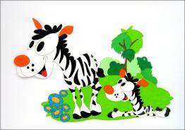 Dekorace na zeď zebra s mládětem 150x93cm