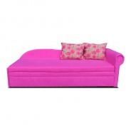 Rozkládací pohovka, růžová / vzorované polštáře, pravá, AGA D