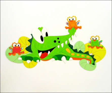 Dekorace na zeď krokodýl a žabky 150x80cm