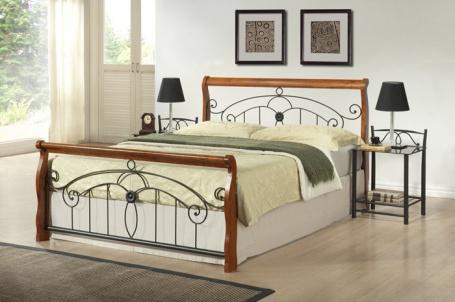 Manželská postel Victory 180x200cm - třešeň/černá