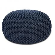 Pletený taburet, bavlna, šedá, GOBI TYP 2