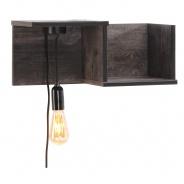 Polička s LED žárovkou Willy - pálená borovice