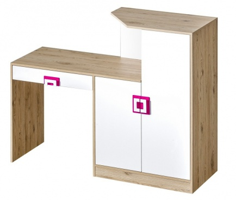 Pracovní stůl s komodou NIKO 11 dub jasný/bílá/růžová