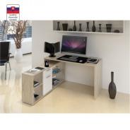 PC stůl, dub san remo / bílá, NOE NEW