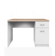 PC stůl 1D1S, DTD laminovaná, bílá / dub sonoma, TOPTY