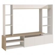 Televizní stěna Danny - dub/bílá