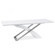 Jídelní stůl, bílá / bílá extra vysoký lesk HG, KROS
