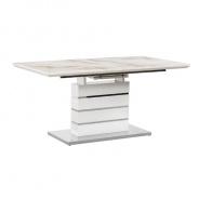 Jídelní stůl rozkládací, mramorový vzor / bílá HG, LAJOS